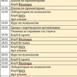 Програма с дейности на Международния младежки център за месец януари